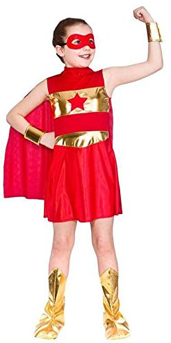 Girls Red Super Hero Fancy Dress Up Party Costume Halloween Child Cape
