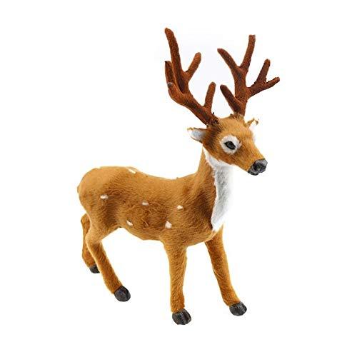 VCB Lovely Simulation Reindeer Christmas Ornament Plush Deer Christmas Decorations - Yellow & White (Christmas White Ornamente)
