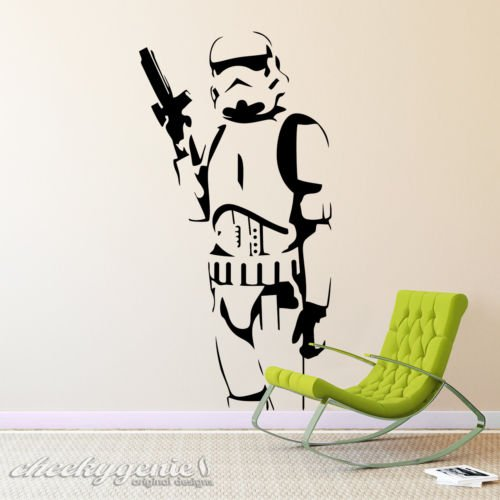 Star Wars–Stormtrooper Holding Gun vinilo pared arte dormitorio adhesivo, negro, Large 110cm x 56cm