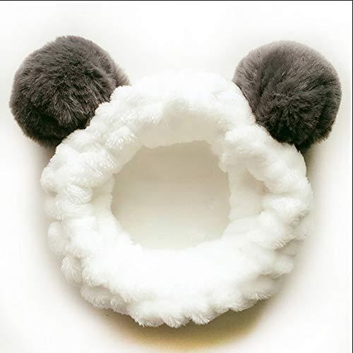 Makeup Stirnbänder für Waschen Gesicht Dusche Spa Maske, Frauen Mädchen Mode Plüsch Stirnband Haarschleife Elastische Korallen Fleece Haarband mit Niedlichen Pompons Grau (Panda)