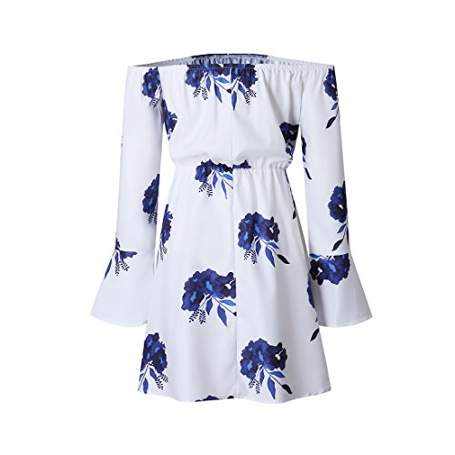 Frauenkleid?DINGANG Sommerkleider Lange Ärmel Schulterkleid Blumenmuster Kurzes Strandkleid Size 36~42 Blau