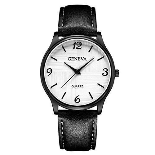 Yanhoo Luxus Herren Damen Liebhaber Uhr Quarz Armbanduhren Leder Armbanduhr Armband Analog Slim Dial Casual Einfache Business Quarzuhren (A)