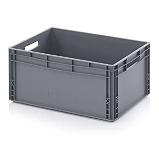 56 Litre 60 x 40 x 27cm Euro Stacking Heavy Duty Plastic Storage Containers Boxes Crates GREY (600 x 400 x 270mm)