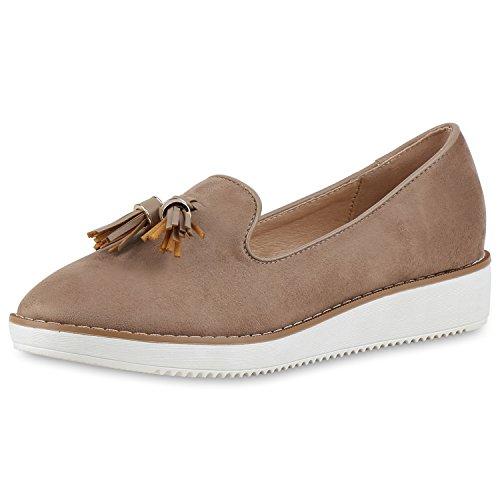Bequeme Damen Slipper Tassel Loafer Profilsohle Flats Schuhe Khaki