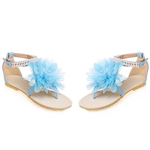 ... TAOFFEN Damen Bohemia T-Spange Flip Flop Flach Strand Sandalen mit Blume  850 Blau ...