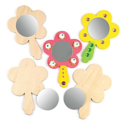 """Baker Ross Holzspiegel-Bastelsets """"Blume"""" für Kinder - Kreatives Bastelmaterial zum Dekorieren (3 Stück)"""