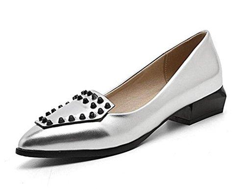 GLTER Femmes orteils fermés pompes talons bas Rivets seule chaussure chaussures pointues de la Cour Sandales Silver