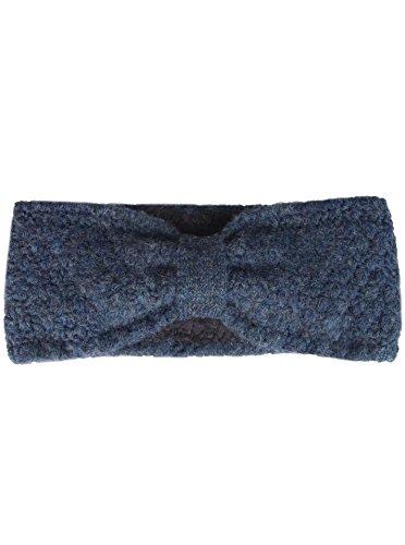 Zwillingsherz Stirnband mit Schleife - Hochwertiges Strick-Kopfband für Damen Frauen Mädchen - Mit Fleece - Wolle - Ohrenschutz - Haarband - warm und weich für Herbst Winter und Frühjahr blau