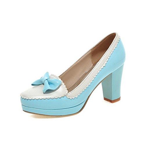 VogueZone009 Damen Lackleder Rund Zehe Hoher Absatz Ziehen Auf Gemischte Farbe Pumps Schuhe Hellblau