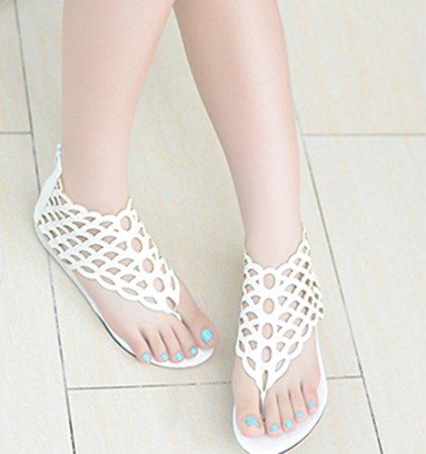NiSeng Damen Ethnische Stil Sandalen Retro Fischschuppen Sandalen Mode Flache Sandalen Weiß
