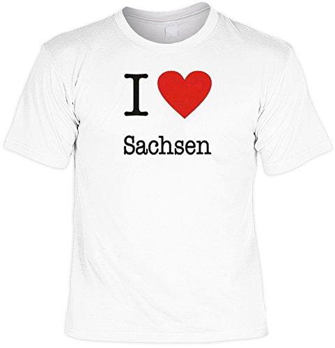 Witziges Spaß-Shirt + gratis Fun-Urkunde: I love Sachsen Weiß