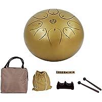 Steel Tongue Drum, 25,4 cm 25 cm Stahl Tongue Drum mit Drum Mallets Carry Bags Note Sticks Gold