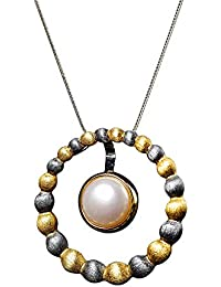 3d68d13b42ae Qiulv Círculo Hueco Colgante S925 Plata esterlina Perla barroca Collar de  Cadena Lindo Animal Colgante Retro