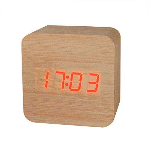 DAIKAI Bambus Holz Quader Wecker Supreme Temperaturanzeige Uhren High-End Kreative Sounds Control Elektronische Led Wecker Stil 3 6 * 6 * 6 cm