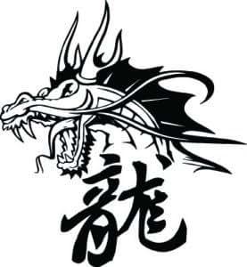 Dragon s head avec lettres chinoises, le vinyle autocollant, autocollants - 50cm Hauteur - 50cm Largeur - noir vinyle