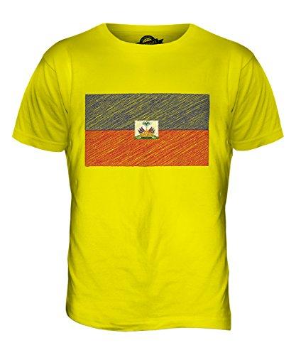 CandyMix Haiti Kritzelte Flagge Herren T Shirt Zitronengelb
