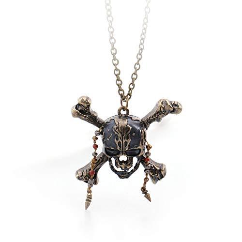 Tote Kostüm Piraten Männer - DADATU Halsketten für Herren Piraten Der Karibik 5 Kands Tot Piraten Schädel Capitan Anhänger Mit Perlen Handgefertigt DIY Lange Lange Filmschmuck