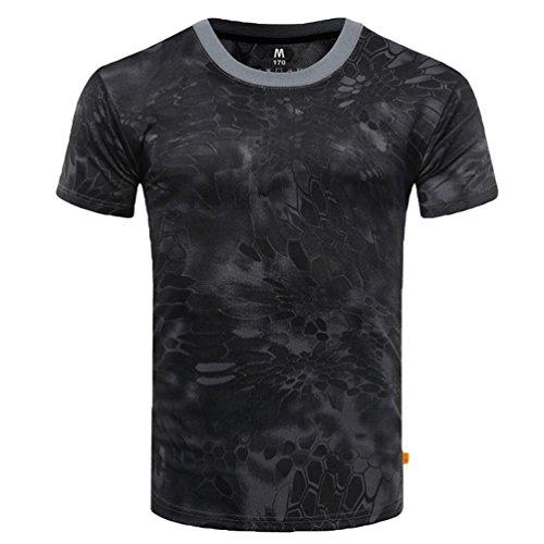 YuanDian Homme Été Décontractée 100% Coton Tactique De Plein Air Entraînement T-Shirt Manches Courtes Séchage Rapide Respirant Style Militaire Haut Chemise