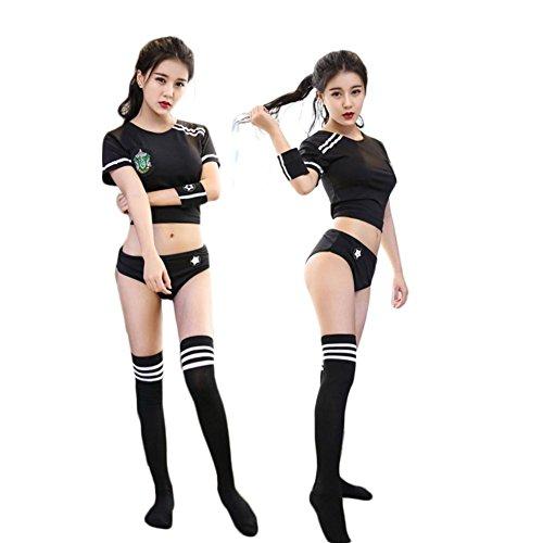 Sex PLAYSexy Wäsche/Schuluniformen Cheerleader-Gymnastik Tennisrock Anzug (Ohne Socken),Black,m