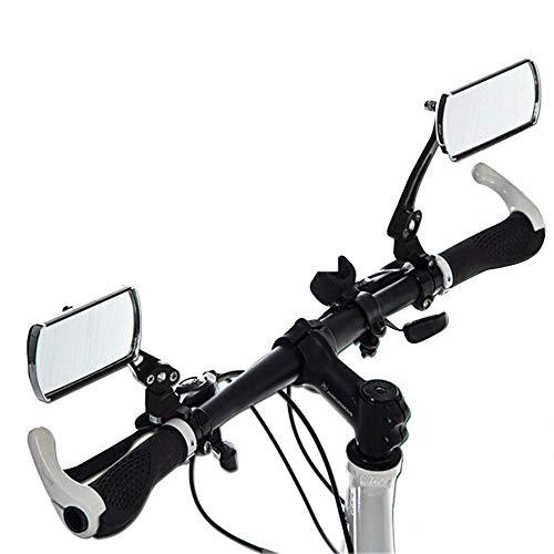 Wokee 2 Pcs Aluminium Fahrradspiegel Rückspiegel,Große Linse Verstellbarer Konvexspiegel für Fahrrad , Mofa , Rollstuhl , Rollator , Roller