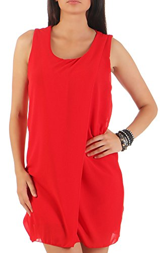 leid kurz | elegantes Kleid für den Strand | klassisches Freizeitkleid | Partykleid - Basic 6878 (rot) (Klassisches Kleid Bis)