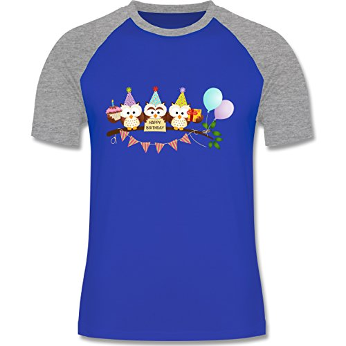 ulen Happy Birthday - S - Royalblau/Grau meliert - L140 - Herren Baseball Shirt (Baseball-happy Birthday)
