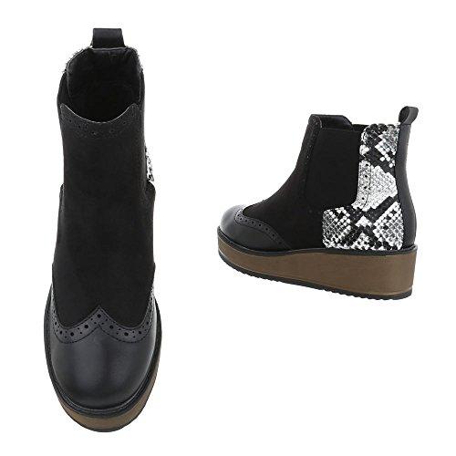 Komfort Stiefeletten Damenschuhe Schlupfstiefel Moderne Ital-Design Stiefeletten Schwarz