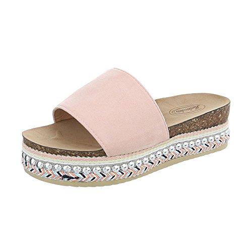 Ital-Design Pantoletten Damenschuhe Sandalen Sandaletten Pink G-78