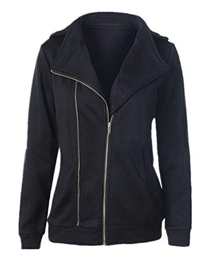 ZANZEA Femme Automne Coton Sweats à Capuche Poches Zippé Hoodie Fleece Veste Cardigan Pull Noir