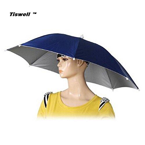 Tiswell Regenschirm-Hut 66cm Durchmesser Elastische Kopfbedeckung Regenschirm-Hut für Angeln, Garten, Fotografie, Wandern., - Tragen Halloween-kostüm Kopf