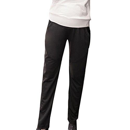 Highdas Womens Pregnancy Yoga Wear Pantalon de coton doux en coton doux à la polaire Noir