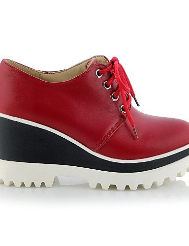 ZQ hug Scarpe Donna - Scarpe col tacco - Casual - Zeppe / Plateau / Punta arrotondata - Zeppa - Finta pelle - Nero / Rosso / Bianco , red-us10.5 / eu42 / uk8.5 / cn43 , red-us10.5 / eu42 / uk8.5 / cn4 white-us6 / eu36 / uk4 / cn36