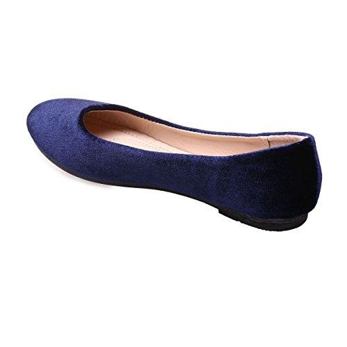 La Modeuse - Ballerines plates en velours Bleu