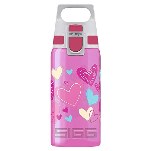 Sigg Kinder Viva ONE Hearts, 0.5 L, Polypropylen, BPA Frei Trinkflasche, Pink