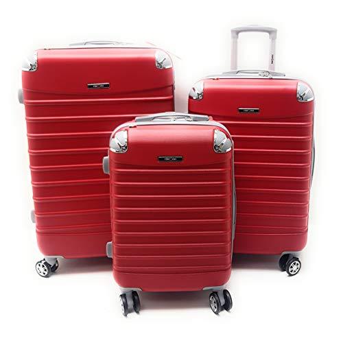 SET 3 TROLLEY ABS RIGIDO CLACSON ESPANDIBILI 8 RUOTE CON TROLLEY RYANAIR priority CM.55X40X20 (ROSSO)