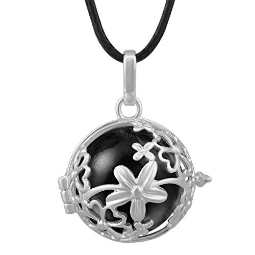 Eudora Boule Motif floral Sons–Collier Femme–Pendentif Plaqué Argent 925Coffret cadeau femmes enceintes