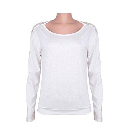 ADESHOP Backless O-Cou Femmes Chic en Dentelle Couture à Manches Longues Femmes Couleur Unie Col Rond Sweatshirt Pull Tops Femmes Printemps et Automne T-Shirt Lâche Pas Cher Blouse Shirt Blanc
