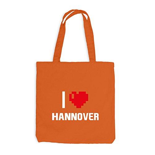 Jutebeutel - I Love Hannover - Deutschland Reisen Herz Heart Pixel Orange