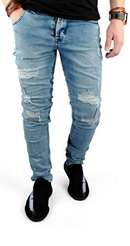 FiveSix Herren Slim-Fit Used-Look Denim Destroyed-Look Zerrissen Löcher Bikerjeans Jeans Hose mit Stretch Hellblau