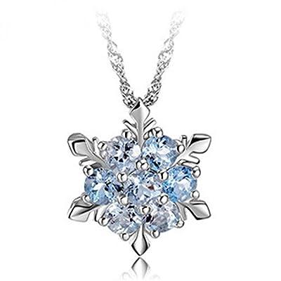 findout ladies swarovski element sterling silver blue crystal snowflake pendant necklace .for women girls children.(f1465)