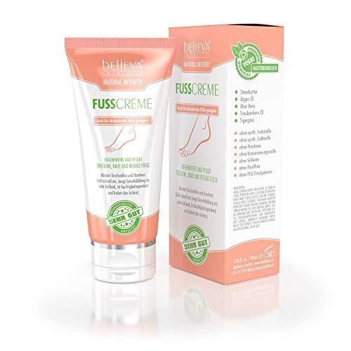 Believa Natural Intensiv Fusscreme - Vegane Fußpflege Creme gegen Hornhaut, Schrunden und trockene Füße 100ml