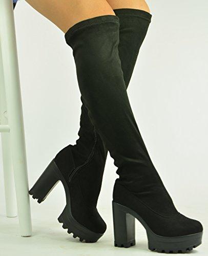 Cucu Fashion , Bottes Souples femme Daim noir