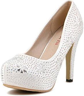 Zapatos para Mujer De Punta Redonda Slip-On Plataforma De Diamantes De Imitación Zapatos De Tacón Alto Vestido...
