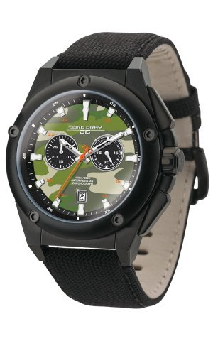 Jorg Gray Men's Watch JG8800-21B The Covert Collection Chronograph Black Canvas Strap