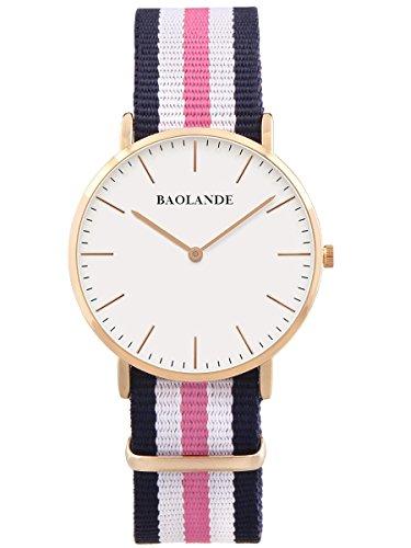 Alienwork-Quarz-Armbanduhr-elegant-Quarzuhr-Uhr-modisch-Zeitloses-Design-klassisch-Nylon-rose-gold-blau-U04818L-02