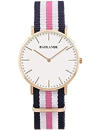 Alienwork Quarz Armbanduhr elegant Quarzuhr Uhr modisch Zeitloses Design klassisch Nylon rose gold blau U04818L-02