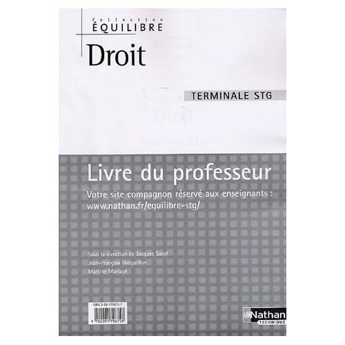 Droit Tle STG : Livre du professeur by Jacques Saraf (2006-08-22)