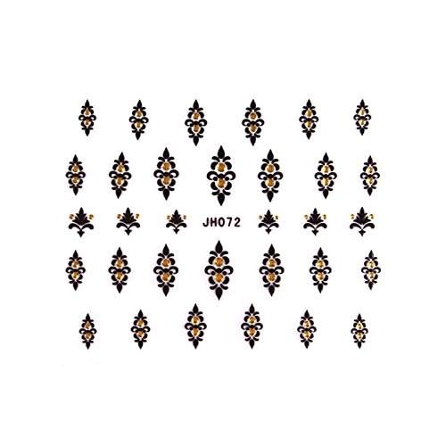 ble - stickers ongles - baroque noir et or jh072