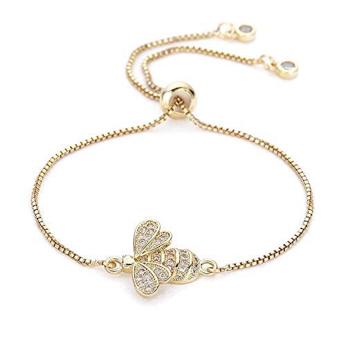 BRACLTS handketten Nette Zirkonia Biene Charme Armbänder Für Frauen Gold Kette Kristall Armband Einstellbar Tier Femme Schmuck Femme, B (B-charme-armband)