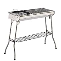 Portable Folding Charcoal BBQ Grill - Stainless Steel Thickened Barbeque Grill for Home Garden Backyard Tailgate Party Camping Picnic Cooking